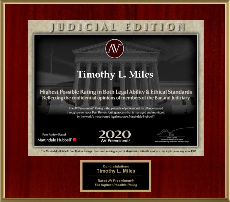 Nationally Recognized Securities Class Action and Shareholder Rights Attorney Timothy L. Miles Has Achieved the 2020 AV Preeminent® Attorney – Judicial Edition by Martindale-Hubbell(R)