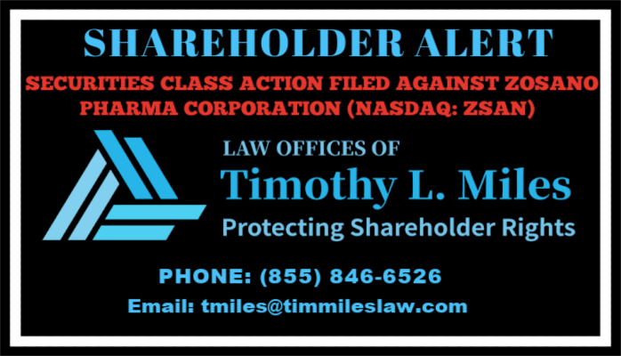 SHAREHOLDER ALERT: Law Offices of Timothy L. Miles Announces Zosano Pharma Corporation (ZSAN) is Being Sued for Misleading Shareholders