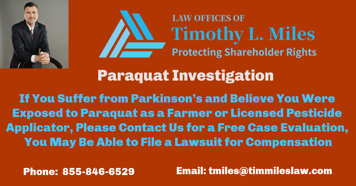 Lawsuit Alleges Link Between the Use of the Herbicide Paraquat and Parkinson's Disease